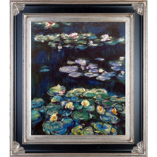 Tori Home Luxury Line 'Water Lilies Metallic Embellished' by Claude Monet Framed Painting on Canvas