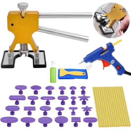 Paintless Dent Removal Tools Pops a Dent Puller Car Dent Remover + Hot Melt Glue Gun for Auto Body Scratch Dent Repair (Dent Scratch Remover)