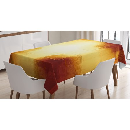 Copper Decor Tablecloth, Abstract Squares Lines Vibrant Colors Blur Dynamic Modern Grid Design, Rectangular Table Cover for Dining Room Kitchen, 60 X 84 Inches, Dark Orange Yellow, by Ambesonne