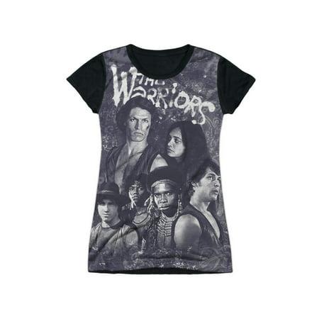 The Warriors New York Gang Film Cast Collage Juniors Black Back T-Shirt Tee - Warriors Baseball Gang