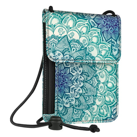 Fintie Passport Holder Neck Pouch [RFID Blocking] Premium PU Leather Travel Wallet, Emerald Illusions
