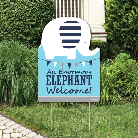 Blue Elephant - Party Decorations - Boy Baby Shower or Birthday Party Welcome Yard Sign - Baby Elephant Party Decorations