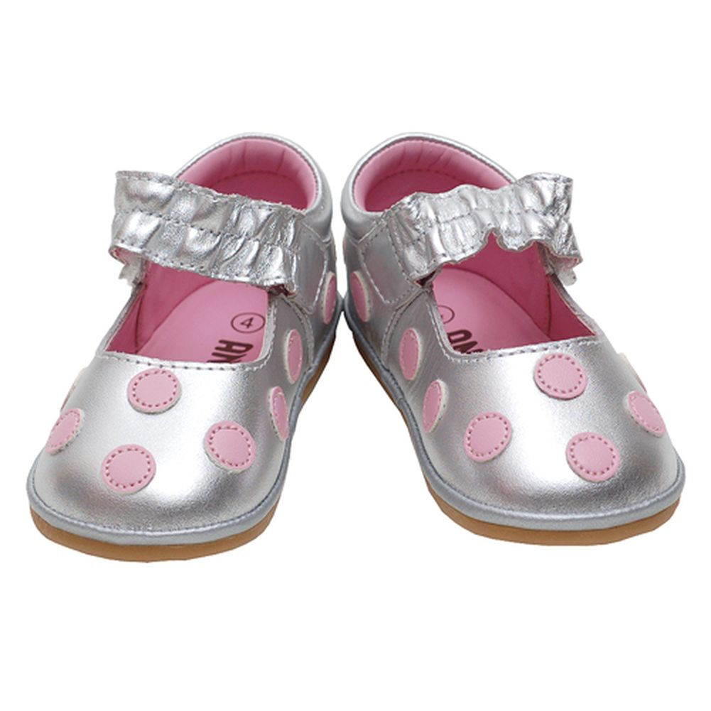 Silver Pink Polka Dot Mary Jane Girls Shoes Baby 1- Toddler 7