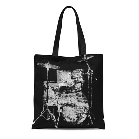 ASHLEIGH Canvas Tote Bag Musician Drum Kit Black White Drumming Play Players Drumset Reusable Handbag Shoulder Grocery Shopping Bags