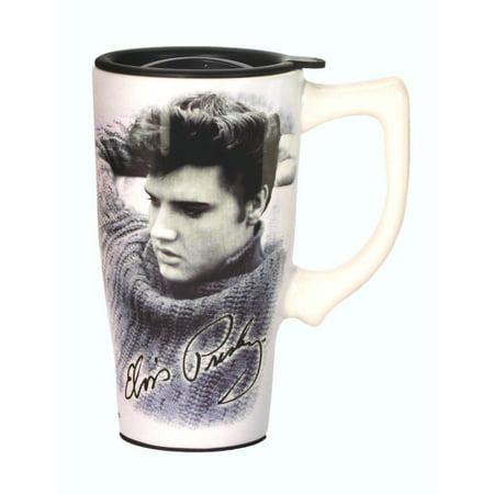 Ceramic Travel Mugs Lid - Elvis Presley Music Legend Ceramic Travel Mug with Lid 16 Ounce Coffee Tea Latte