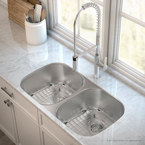 ... Stainless Steel 32 Inch 50/50 Double Bowl Real 16 Gauge Kitchen Sink  And Nola™ Commercial Kitchen Faucet With Soap Dispenser In Stainless Steel
