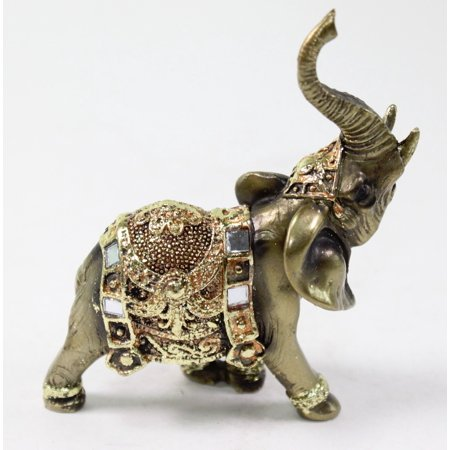 Feng Shui 4.5'(H) Brass Color Elegant Elephant Trunk Statue Wealth Lucky Figurine Home Decor Gift