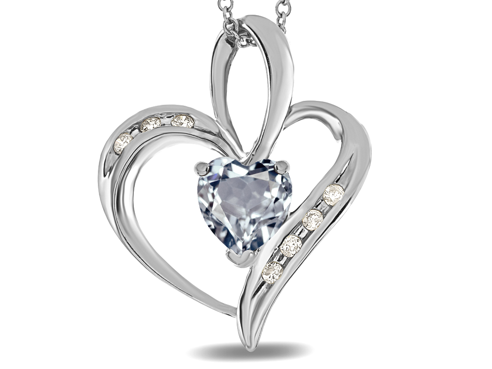 Star K Heart Shape 6mm Genuine Aquamarine Pendant Necklace in 14 kt White Gold by