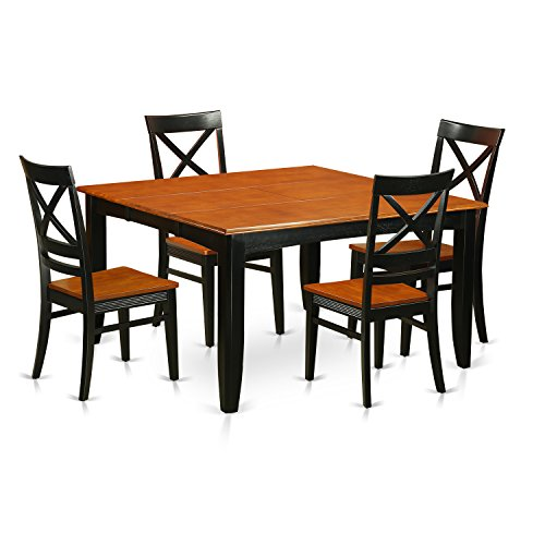 PFQU5-BCH-W 5 PC Dining room set-Dining table with 4 Wooden Dining chairs