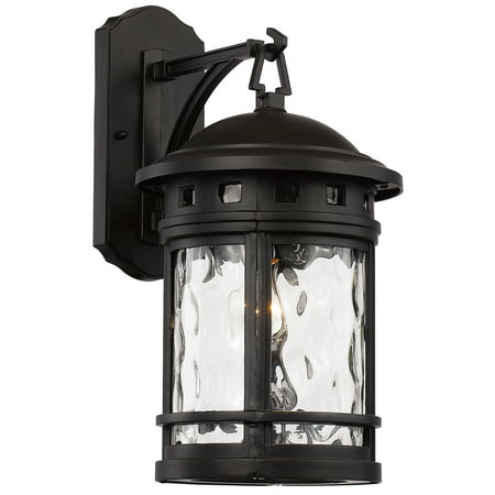 "Bel Air Lighting CB-40371-1BK 16.25"" 1 Light Boardwalk Wall Lantern Medium With Water Glass Type In Black Finish"
