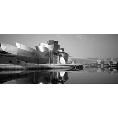 Reflection of a museum on water Guggenheim Musuem Bilbao Spain Canvas Art - Panoramic Images (30 x 13) - Mobile Museum Art