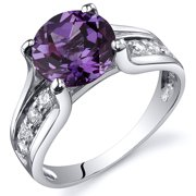 2.75 Ct Simulated Alexandrite Solitaire Ring in Rhodium-Plated Sterling Silver