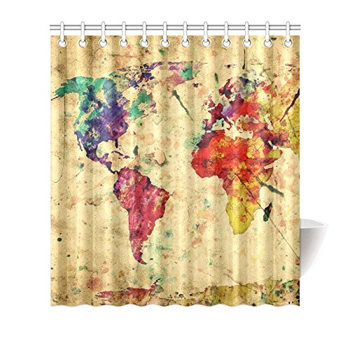 GCKG Watercolor Vintage World Map Shower Curtain Hooks 66x72 Inches Colorful Fabric Antique Art