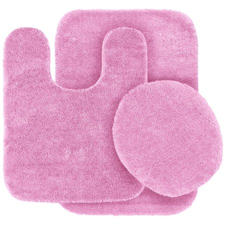 3 Pc Light Pink Bathroom Set Bath Mat Rug Contour And Toilet Lid Cover