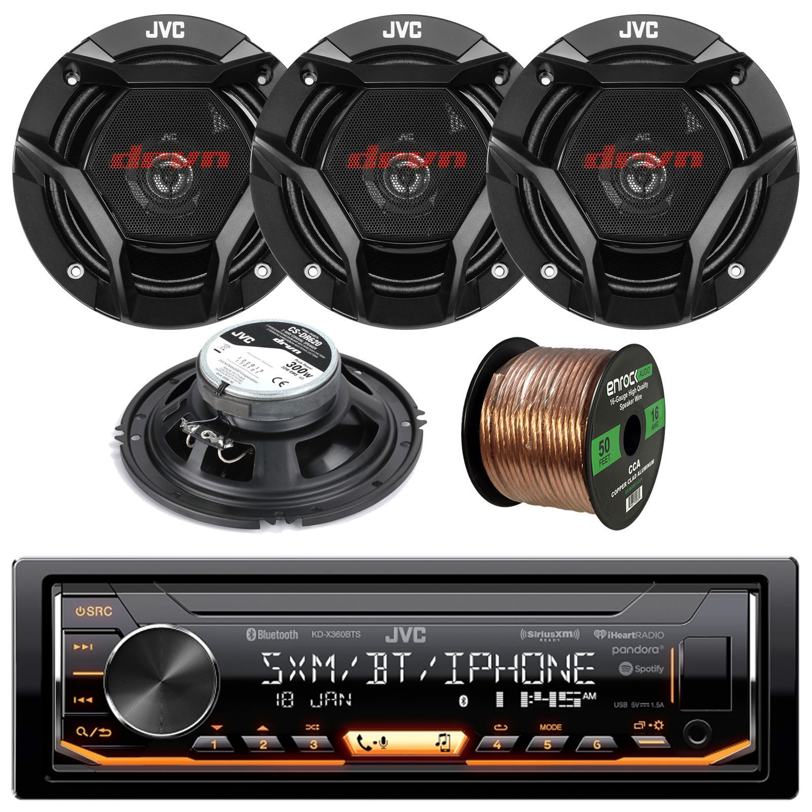 "JVC KDX360BTS Single-DIN AM/FM USB AUX Car Stereo Receiver Bundle Combo With 4x CS-DR620 DR Sereis 6.5"" Inch 300 Watt 2-Way Upgarde Audio Stereo Coaxial Speakers + 50 Foot 16 Gauge Speaker Wire"