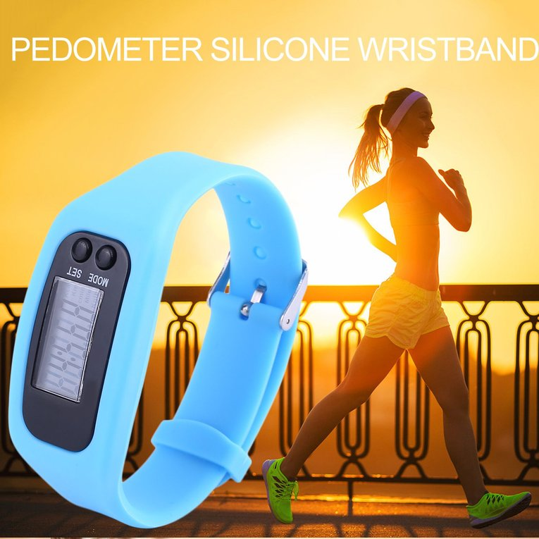 Pedometer Sports Monitor Running Exercising Step Counter Silicone Wristband