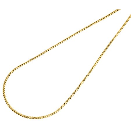 10K Yellow Gold 1.5mm Round Box Chain Necklace Lobster Clasp, 20 Inches