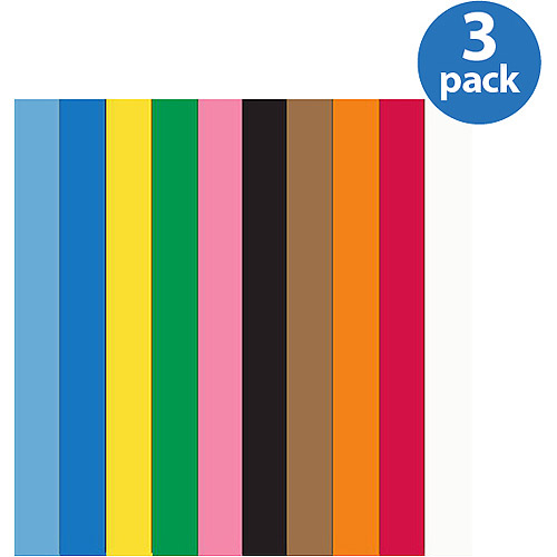 "School Smart Heavyweight Construction Paper, 9"" x 12"", 100 Sheets, Available in Multiple Colors, 3 Pack"