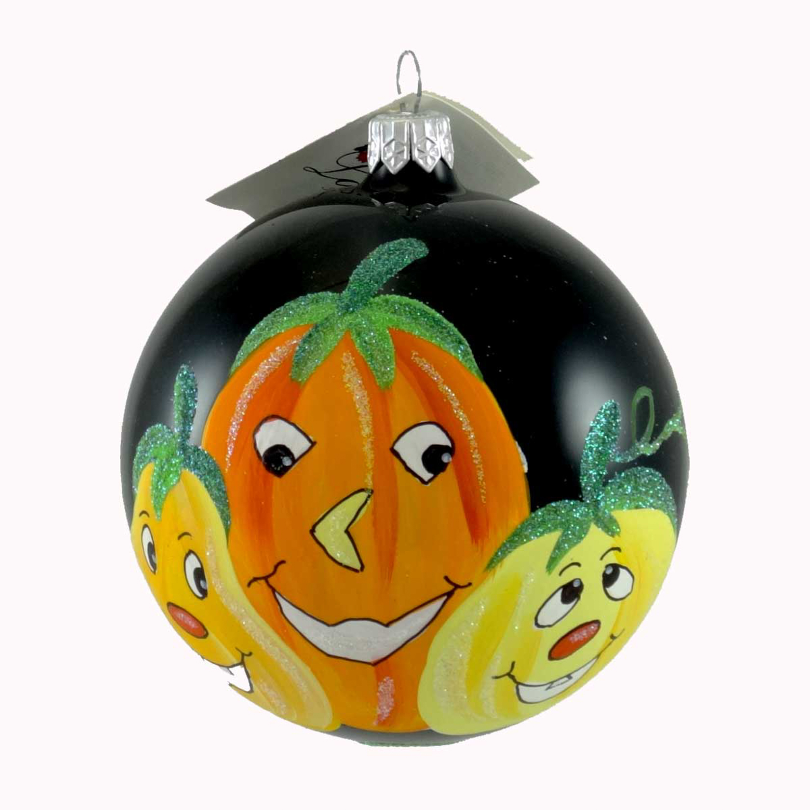Laved Italian Ornaments THREE PUMPKINS BLACK BALL Glass Halloween Carved Gourds 936328