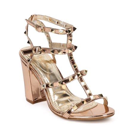 35adf0df90d DbDk - Women Metallic Leatherette Open Toe Strappy Studded Block Heel  Sandal HB23 - Walmart.com