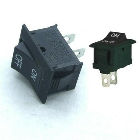 2x SPST Square On/Off Labeled Black Rocker Switch 12V DC 2-Pin Plastic ()