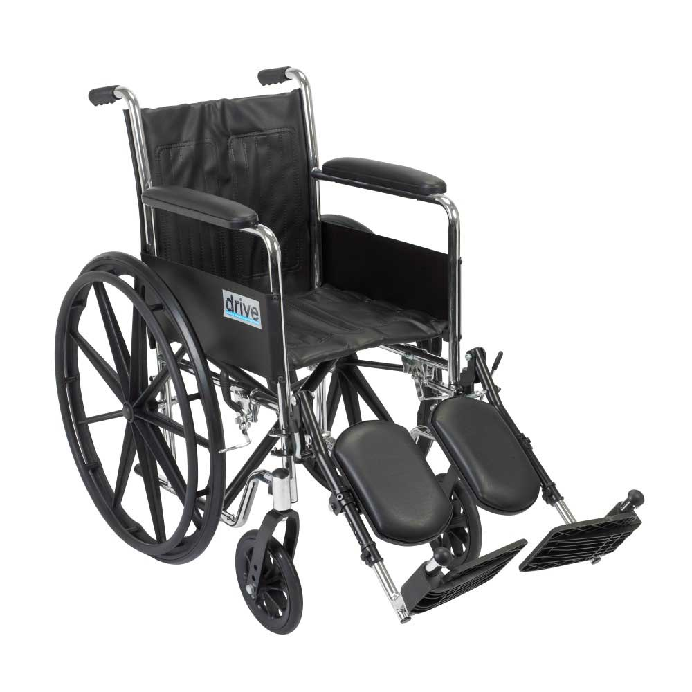 Drive Medical Chrome Sport With Fixed Arms and Leg Rests 16""