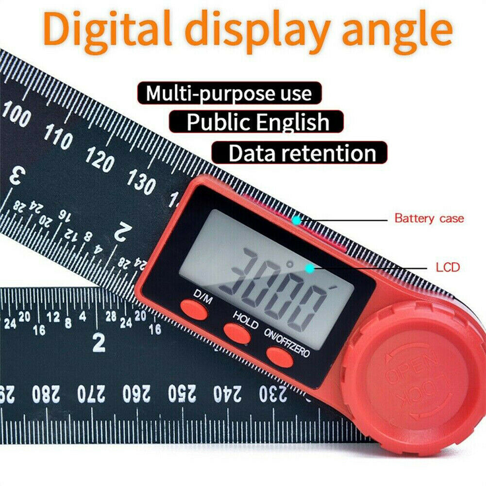 200mm LCD Digital Angle Finder Ruler 8-Inch Protractor Measure Tools CR2032