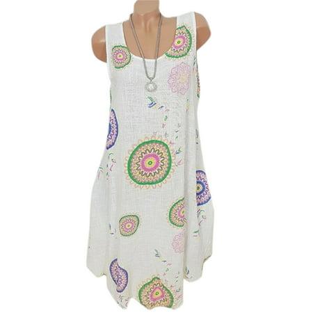 Womens Boho Sundress Midi Length Summer Evening Cocktail Party Beach Tunic Dress - Length Women Beach Dress