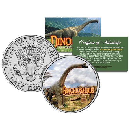 Brachiosaurus   Collectible Dinosaur   Jfk Kennedy Half Dollar Us Colorized Coin