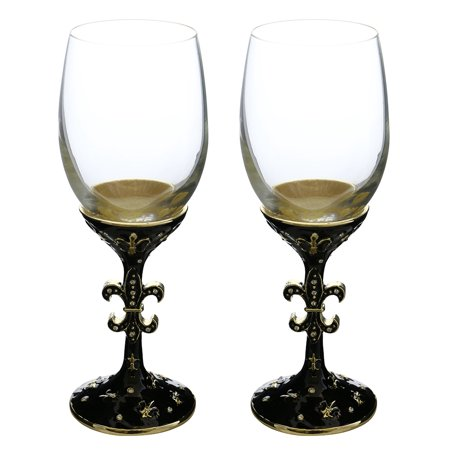 Pair of Medieval Fleur de Lis Royal Metal Stem Fully Decorated Wine Glasses - Halloween Decorated Wine Glasses