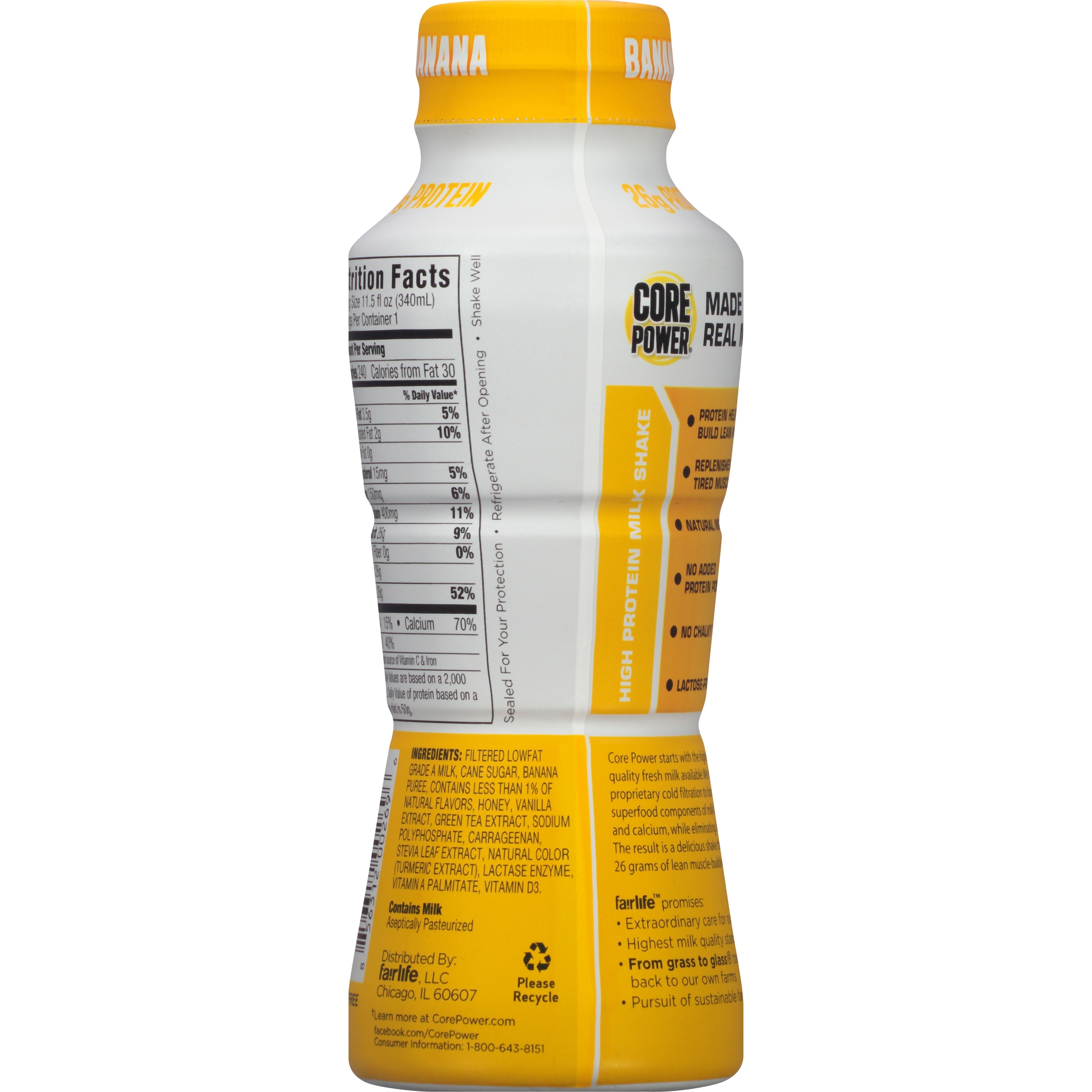 Core Power Banana High Protein Milk Shake 11.5 fl. oz. Bottle ...