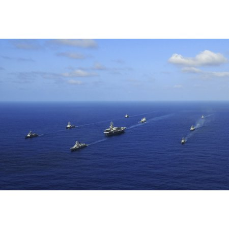 Ships From The Ronald Reagan Carrier Strike Group Transit The Pacific Ocean Canvas Art   Stocktrek Images  34 X 23