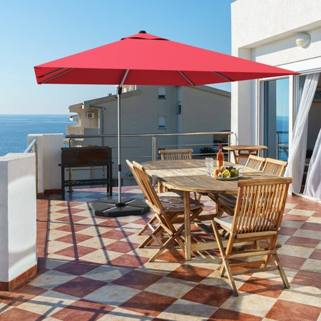 Gymax 10 Ft Square Offset Hanging Patio Umbrella 360 Degree Tilt Brick Red - image 9 of 10