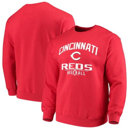 Cincinnati Reds Stitches Holiday Pullover Crew Sweatshirt - Red