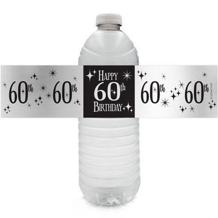 Silver Foil 60th Birthday Bottle Labels - 24ct - Black and Silver Birthday Party Supplies - 24 Count Water Bottle Stickers