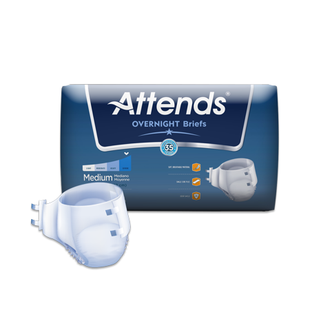 Attends Highly Absorbent Overnight Briefs For Adult Incontinence Care  Unisex  Choose Your Size
