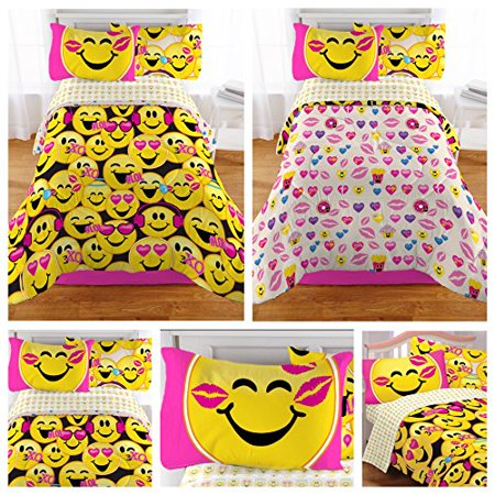 - Bedding Set Best for Girls 100% Polyester Microfiber Twin Size Emoji Pack of 4