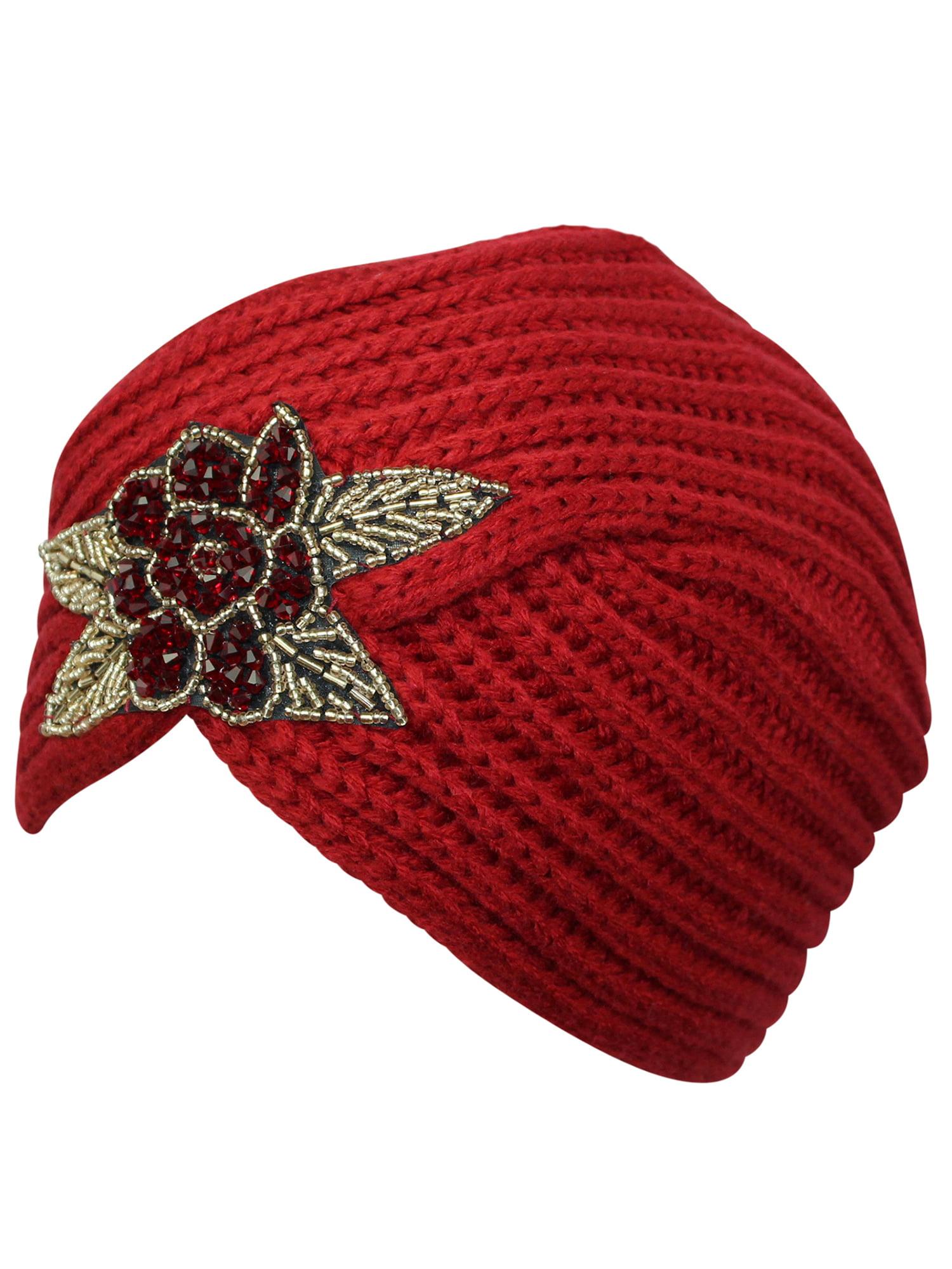 85a0e00b898 Luxury Divas - Winter Knit Turban Beanie With Beaded Flower - Walmart.com