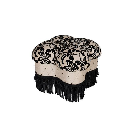 - Brika Home Hand Tufted Clover Ottoman in Black and Ivory