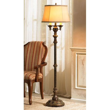 Floor Candelabra Halloween (Barnes and Ivy Traditional Floor Lamp Candelabra Style 4-Light Italian Bronze Bell Shade for Living Room Reading)