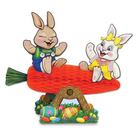 Pack of 12 Carrot Seesaw with Bunnies Easter Table Centerpieces 10