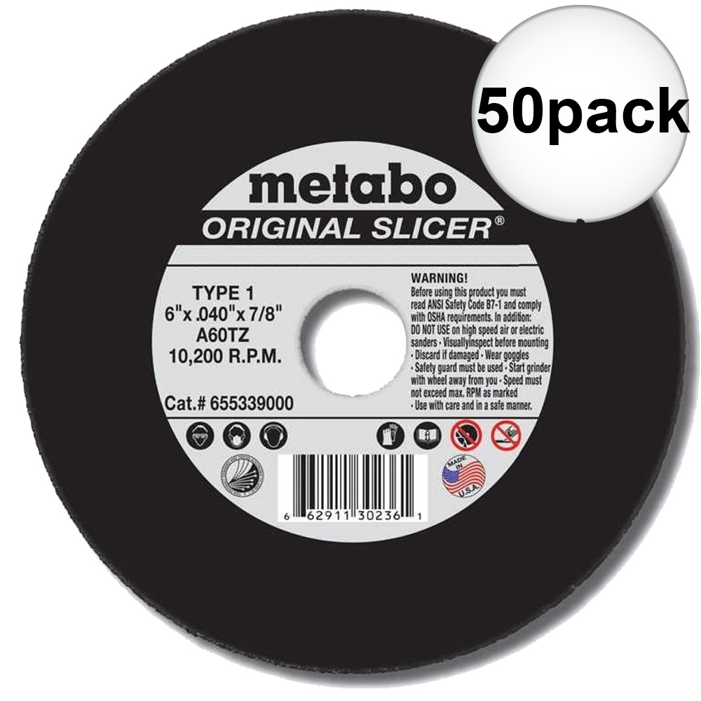 "Metabo 55-339 6"" x 7/8"" x .040 Cut Off Slicer Wheel 50-Pack"