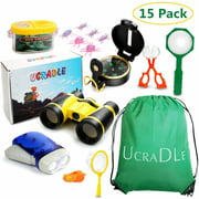 15Pcs Outdoor Explorer Gear Play Set for Kids, Junior Adventurer Equipment Kit for Children – Exploration Toys with Binoculars, Bug Catcher, Magnifying Glass & Backpack