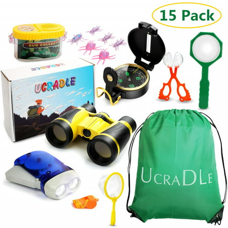 15Pcs Kids Adventure Kit - Outdoor Exploration Kit, Educational Outdoor Explorer Kit for Kids, Binoculars, Flashlight, Compass, Magnifying Glass, Best Gifts For Birthday, Camping, Toys For Boys](Binoculars Kids)
