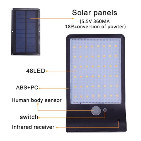 48 LEDs Solar Powered Wall Light PIR Motion Sensor with Remote Control Outdoor IP65 Water-resistant Street Lamp for Patio Pathway Garden - image 1 de 7