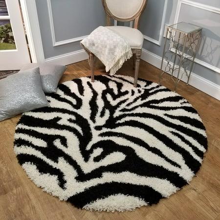 Maxy Home Bella Zebra 5 ft. Round Shag Area Rug