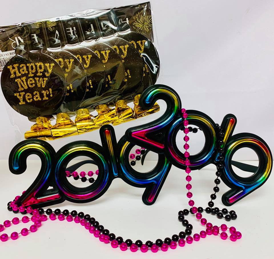 Two Multicolored New Year 2019 Glasses, Beads, and Blowers Party Package Party Supplies Accessories