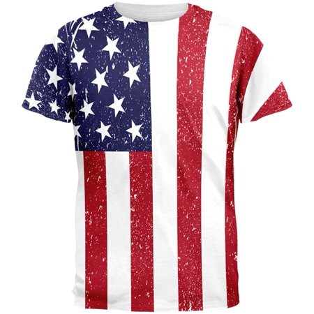 4th of July American Flag Distressed All Over Adult T-Shirt - 4 Of July Shirts