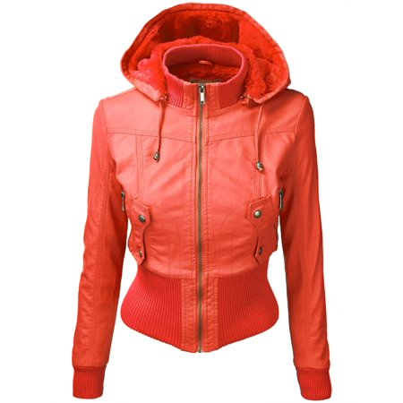 factory new york professional website MBJ WJC695 Womens Hooded Bomber Jacket M CORAL