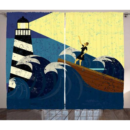Lighthouse Curtains 2 Panels Set Grunge Abstract Artwork Of A Mysterious Woman In A Boat Sea Storm Window Drapes For Living Room Bedroom 108w X 90l